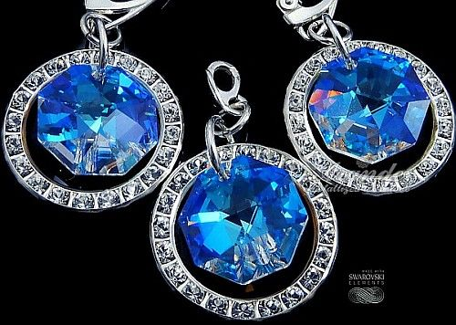 Kryształy ozdobne kolczyki+wisiorek BLUE AURORA