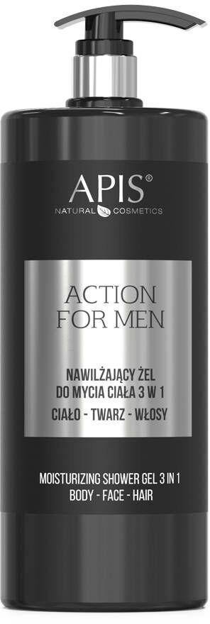APIS - Action For Men 3in1 nawilżający żel do mycia ciała twarzy i włosów 1000ml