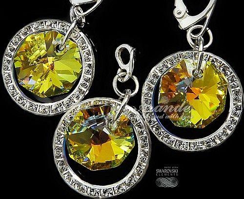 Kryształy ozdobne kolczyki+wisiorek KOLORY SREBRO