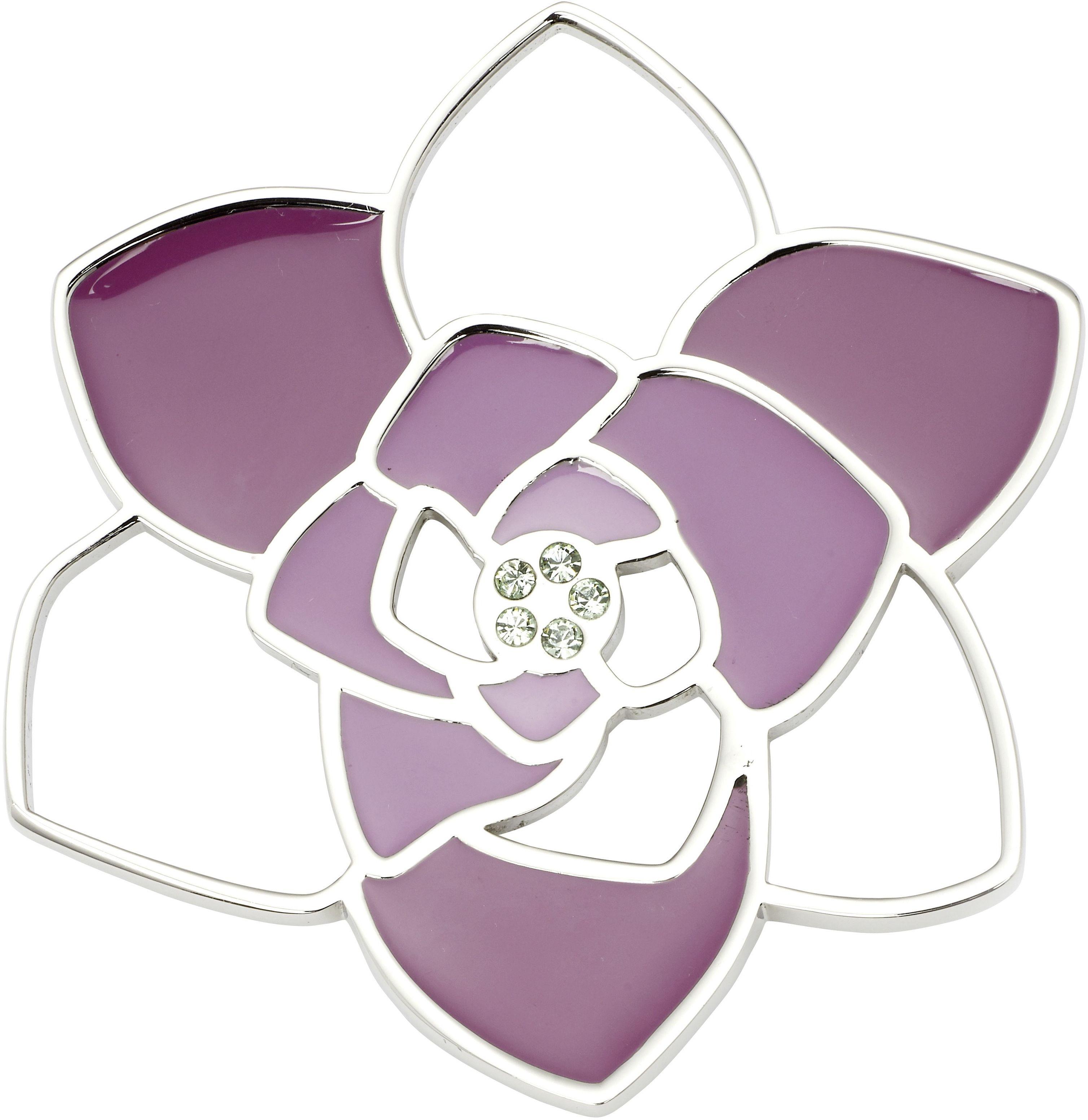 zawieszka magnetyczna ze stali szlachetnej 2718-1 Kwiat zdobiony różową emalią i cyrkoniami