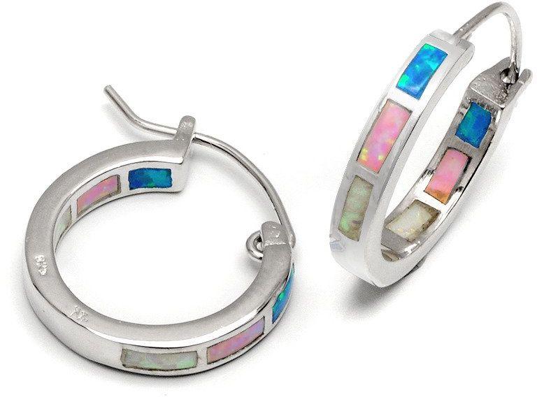 Srebrne Kolczyki Okrągłe z Kolorowymi Opalami