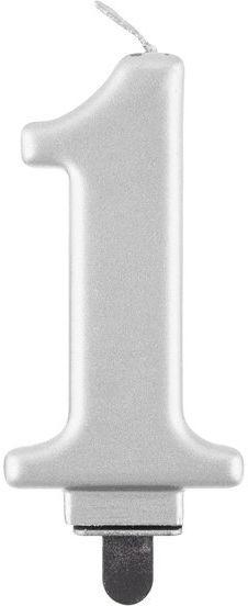 Świeczka cyfra 1 srebrna metaliczna 1 sztuka PF-SCS1