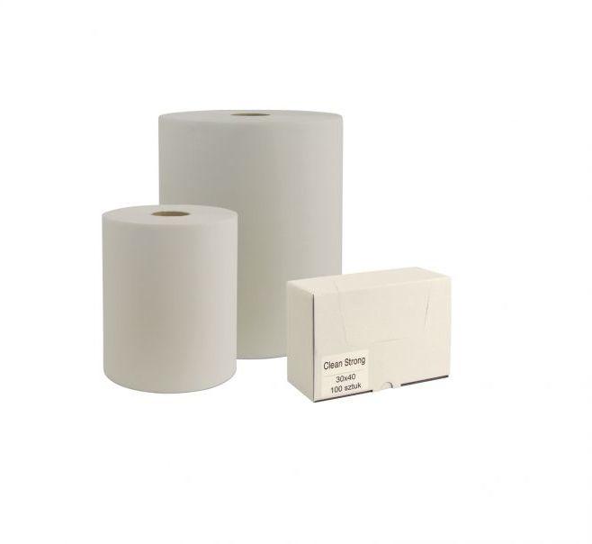 Czyściwo włókninow-celulozowe CLEAN STRONG w małej roli białe, 282 listki