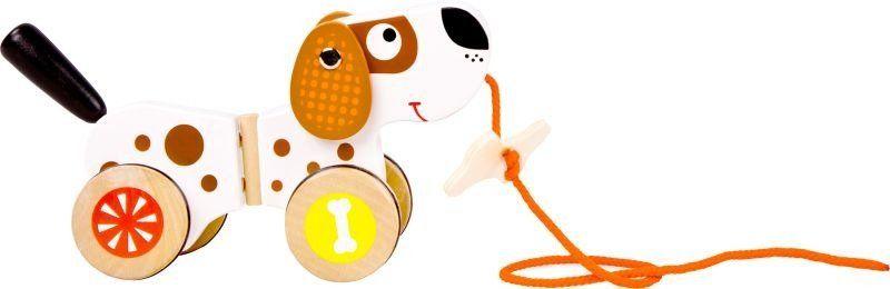 Piesek Groszek - zabawka drewniana do ciągnięcia, 10043-Small Foot, zabawki na sznurku