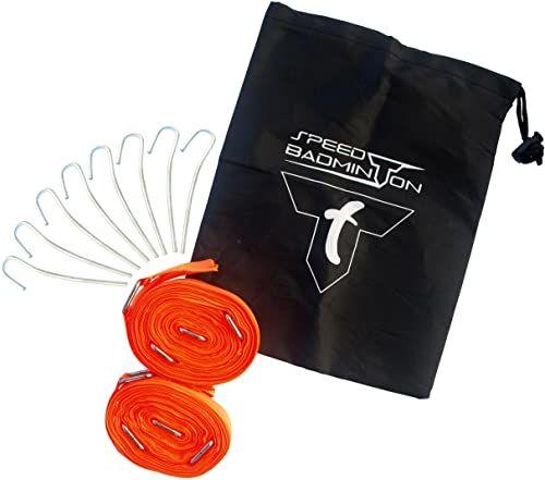 Talbot-Torro Speed-Badminton Court Lines, znacznik pola do gry 5,5 m x 5,5 m, zapakowany w blistrze, neonowy pomarańczowy, 490185