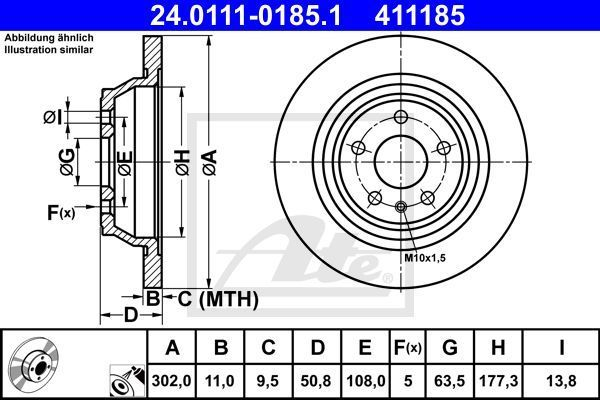 tarcze hamulcowe Ford Mondeo Mk5 - tył - ATE 24.0111-0185.1