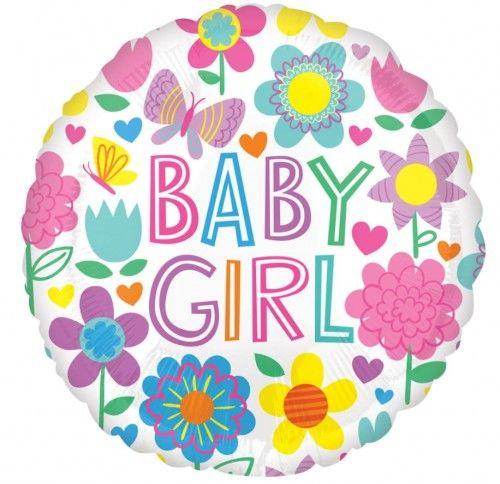 Balon foliowy Kwiaty i Motyle, Baby Girl