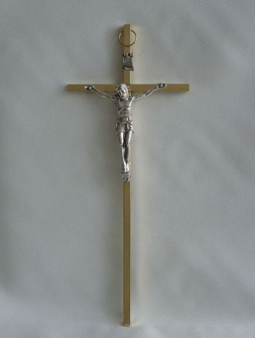 Krzyż metalowy w kolorze złotym 21 cm