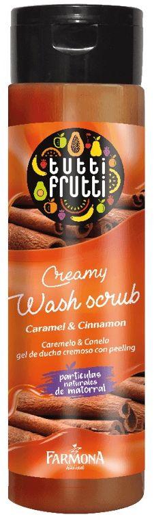 TUTTI FRUTTI Karmel & Cynamon Kremowy Peeling myjący do ciała 200ml (etykieta w wersji angielskiej)
