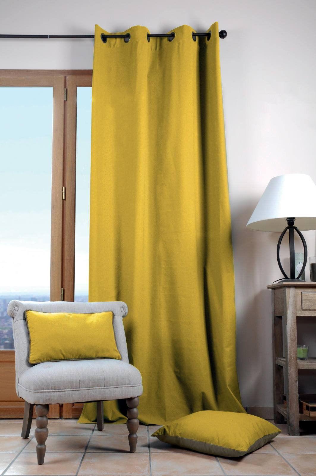 Lovely Casa Duo UNI zasłona, 135 x 240 cm, bawełna, musztardowa żółta