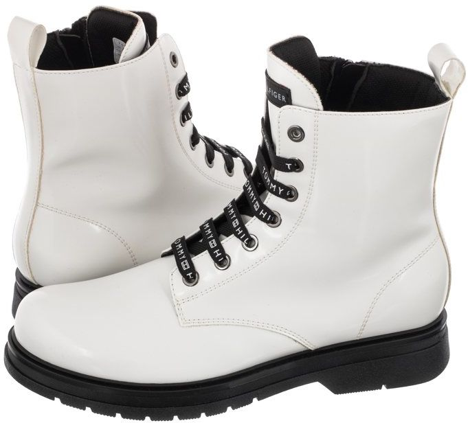 Glany Tommy Hilfiger Lace-Up Bootie T4A5-32010-0776 100 White (TH255-b)