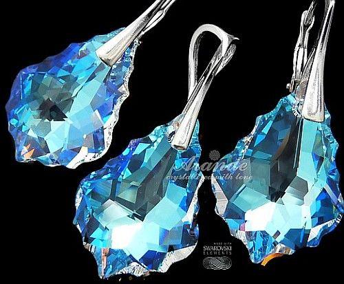 Kryształy komplet BAROQUE BLUE AURORA SREBRO
