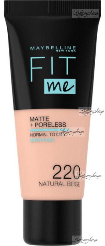MAYBELLINE - FIT ME! Liquid Foundation For Normal To Oily Skin With Clay - Podkład matujący do twarzy z glinką - 220 NATURAL BEIGE