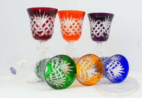 Kolorowe kryształowe kieliszki do likieru 60ml Ananas 6 sztuk