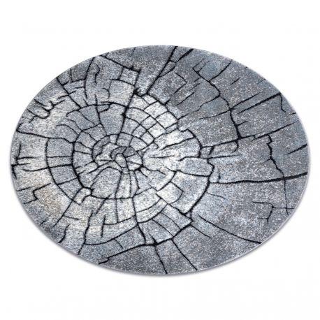 Dywan nowoczesny COZY 8875 Koło, Wood, pień - Strukturalny, dwa poziomy runa szary / niebieski koło 100 cm