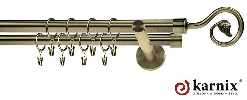 Karnisze nowoczesne NEO podwójny 19/19mm Spiralka antyk mosiądz