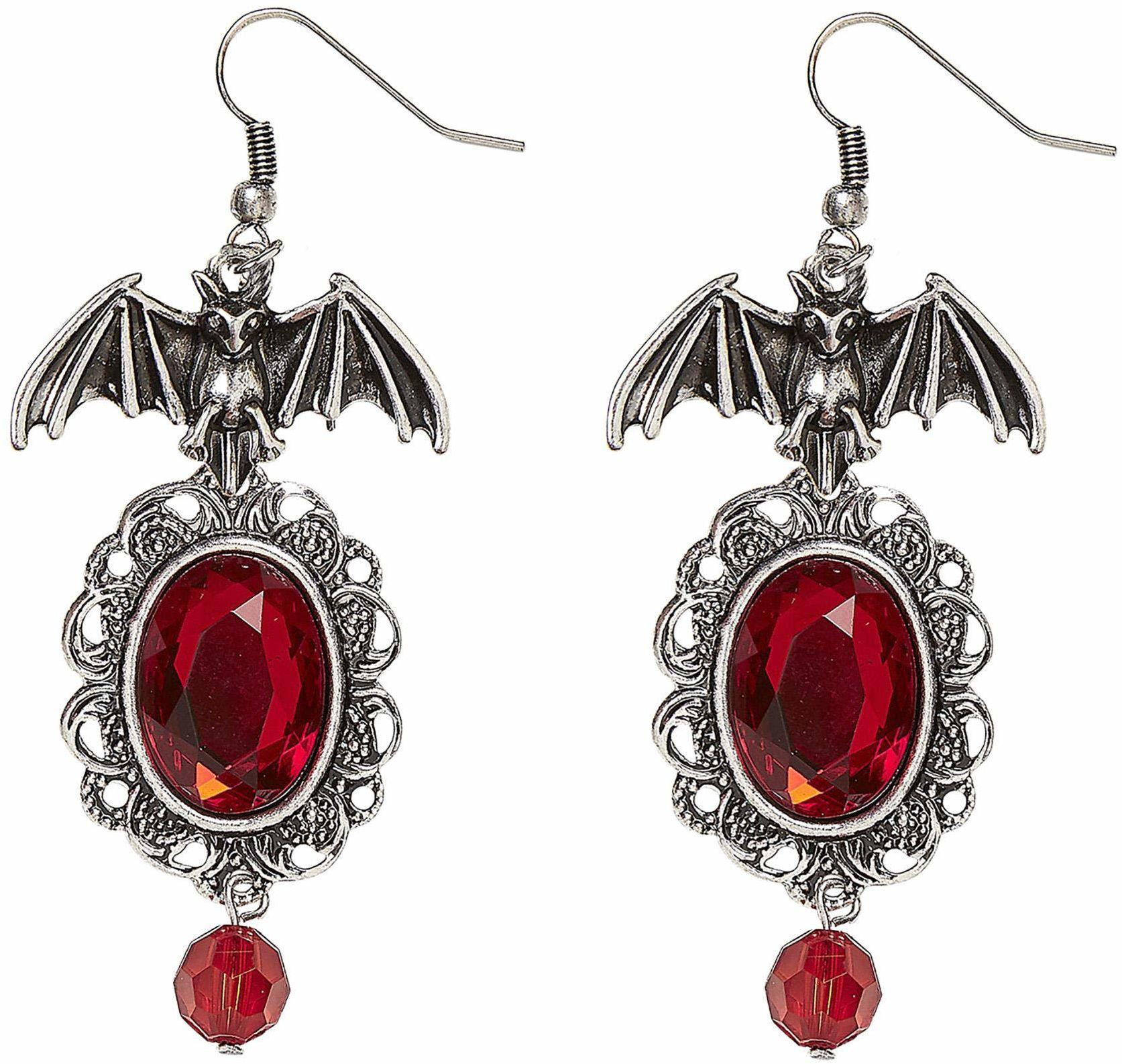 Widmann 46754  kolczyki nietoperz, srebrne z czerwonymi imitacjami rubinu, modna biżuteria, akcesoria, akcesoria, gotyk, diabel, wampir, Halloween, karnawał, imprezy tematyczne