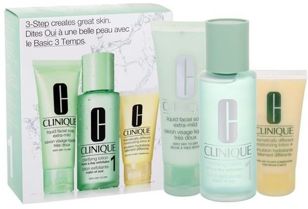 Clinique 3-Step Skin Care 1 Toniki 100 ml Liquid Facial Soap Extra Mild 50 ml + Clarifying Lotion 1 100 ml + DDML 30 ml