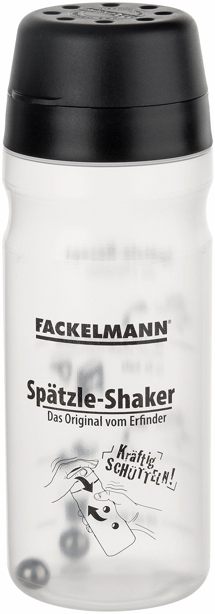 Fackelmann Spätzle Mix-Shaker, butelka na ciasto do samodzielnego wykonania (kolor: czarny/przezroczysty), ilość: 1 sztuka