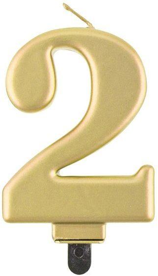 Świeczka cyfra 2 złota metaliczna 1 sztuka PF-SCZ2