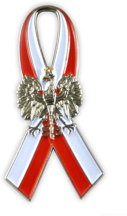 Flaga wstęga z orłem, przypinka