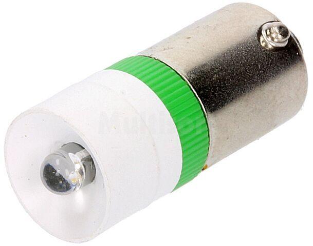 Żarówka bagnetowa LED zielony BA9S 230V