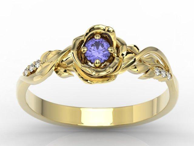 Pierścionek złoty w kształcie róży z tanzanitem i brylantami lp-7715z