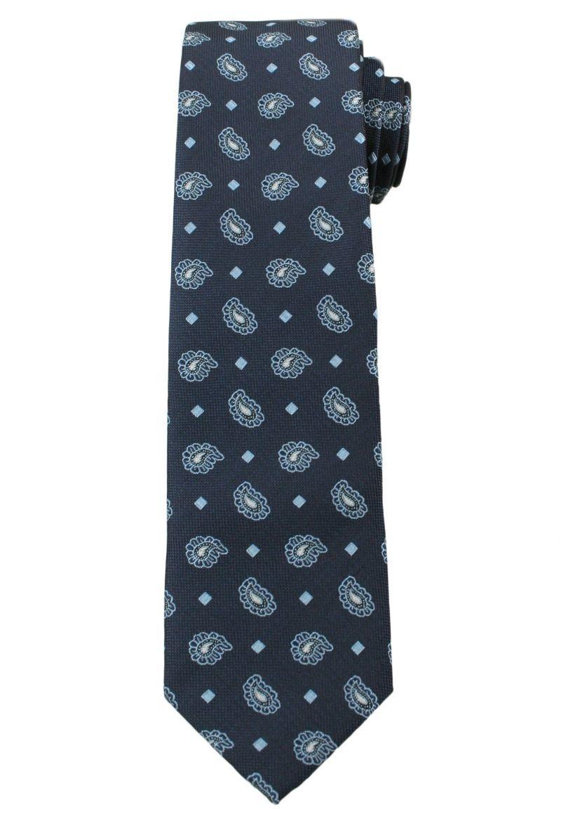 Męski Krawat w Oryginalny Wzór PAISLEY- 6 cm - Angelo di Monti, Ciemny Granatowy KRADM1316