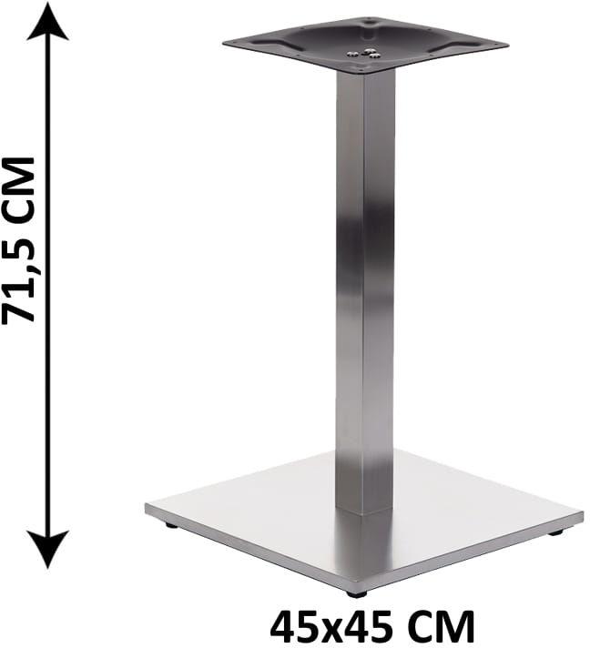 Podstawa stolika SH-2002-1/S/6, 45x45 cm, stal nierdzewna szczotkowana, obciążnik z tworzywa sztucznego, (stelaż stolika)