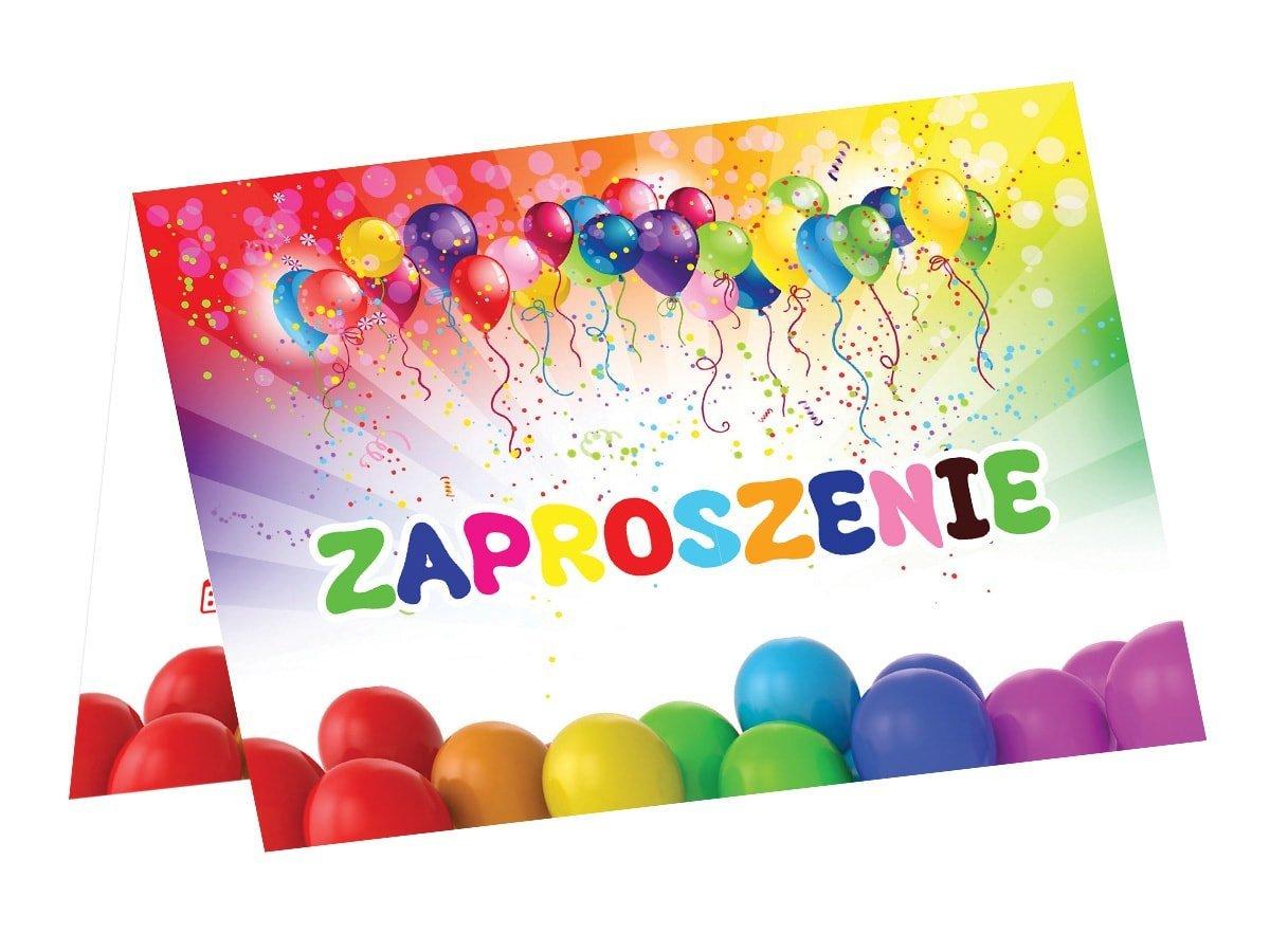 Zaproszenie urodzinowe z balonikami - 6 szt.