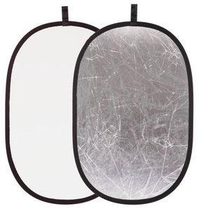 Blenda 2w1 - 90x120cm Owalna (srebrno-biała)