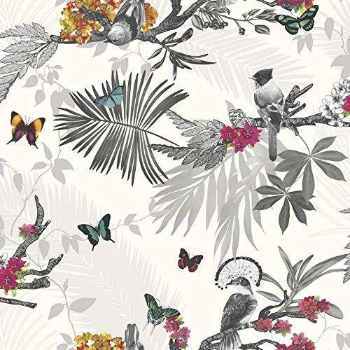 Arthouse mistyczny las biała wielokolorowa tapeta