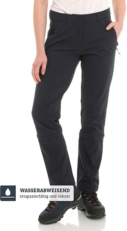 Schöffel Engadin1 damskie spodnie z odpinanymi nogawkami, wygodne i elastyczne spodnie z funkcją Zip-Off, chłodzące i szybkoschnące spodnie outdoorowe dla kobiet czarny czarny 19