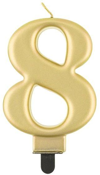 Świeczka cyfra 8 złota metaliczna 1 sztuka PF-SCZ8