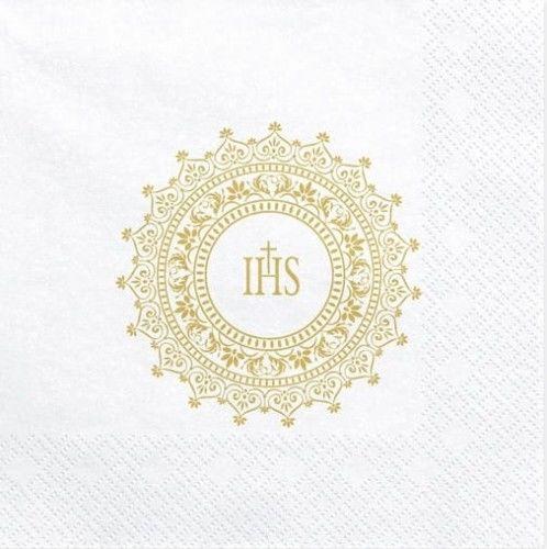 Serwetki Komunijne Złoty Ornament IHS