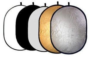 Blenda 5w1 - 60x90cm Owalna (złotą, srebrną, białą, czarną, dyfuzor)