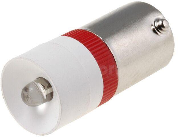 Żarówka bagnetowa LED czerwony BA9S 230V