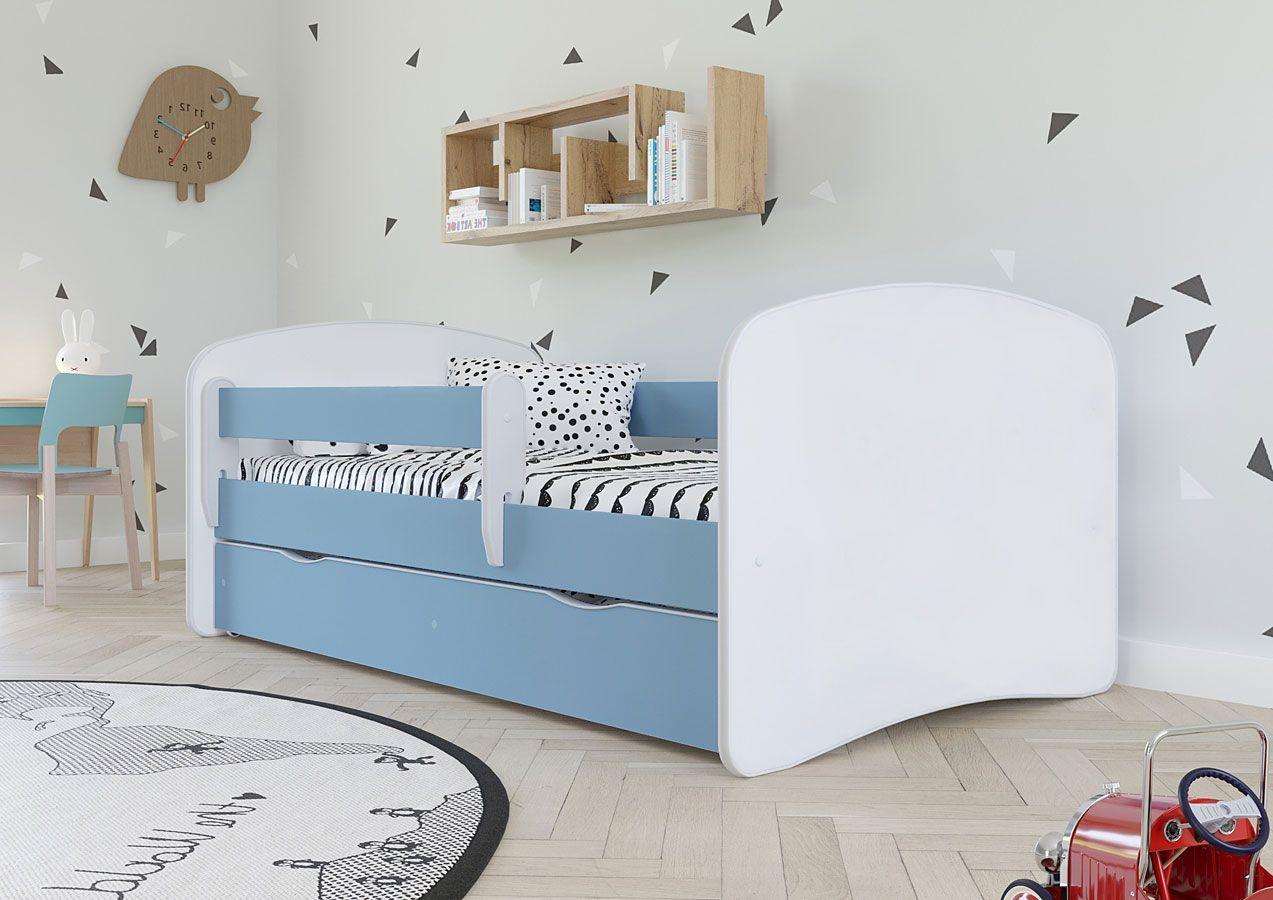Łóżko dla chłopca z barierką Happy 2X 80x160 - niebieskie