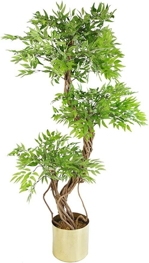 Leaf 140 cm realistyczna sztuczna japońska Fruticosa Ficus drzewo metal szczotkowany mosiężna sadzarka, zielona i złota