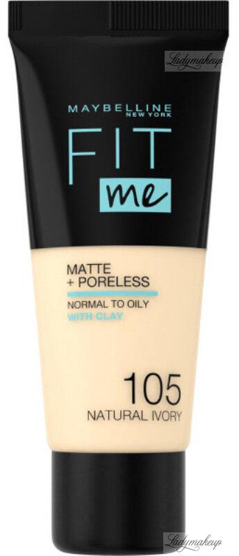 MAYBELLINE - FIT ME! Liquid Foundation For Normal To Oily Skin With Clay - Podkład matujący do twarzy z glinką - 105 NATURAL IVORY