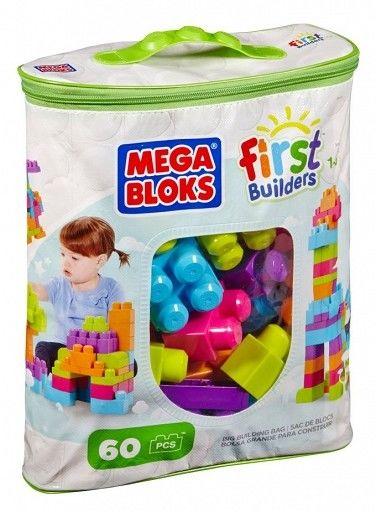 Mega Bloks First Builders - Torba na zamek z różowymi klockami 60 elementów DCH54 CYP67