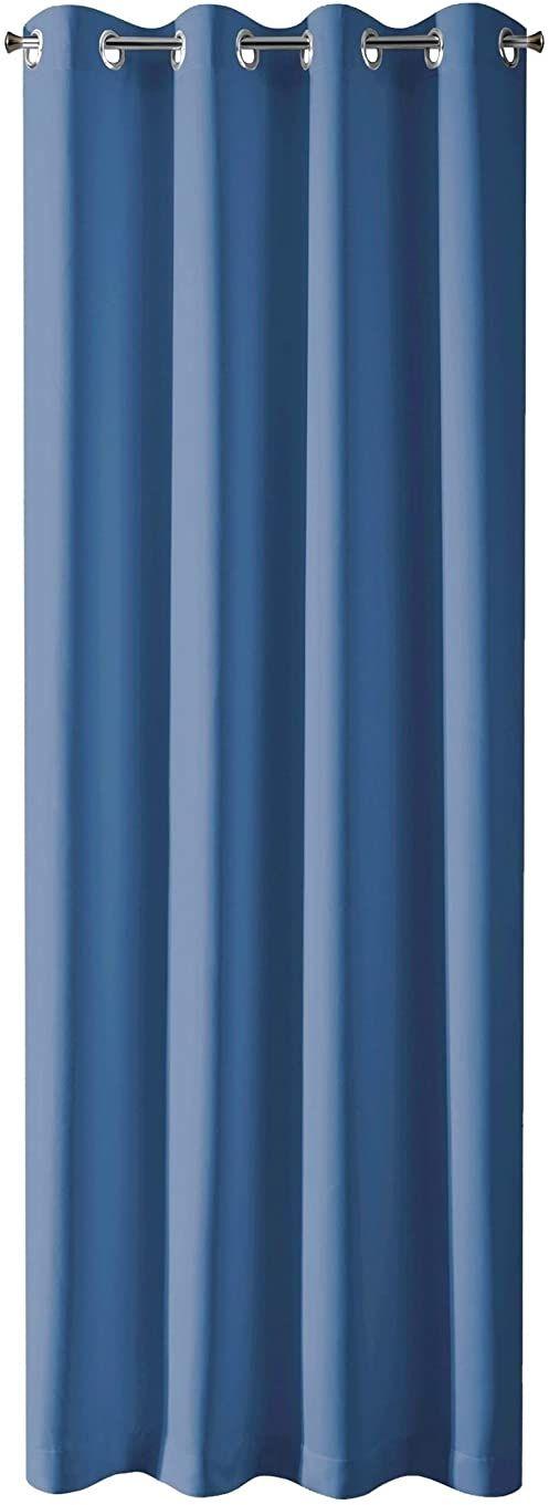 Design91 Gładkie, zaciemniające, 8 oczek, miękkie zasłony, nowoczesne proste zasłony do sypialni, pokoju dziecięcego, salonu, granatowy, 135 x 250 cm