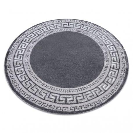Dywan MEFE nowoczesny 2813 Koło Ramka, grecki klucz - Strukturalny, dwa poziomy runa szary koło 100 cm