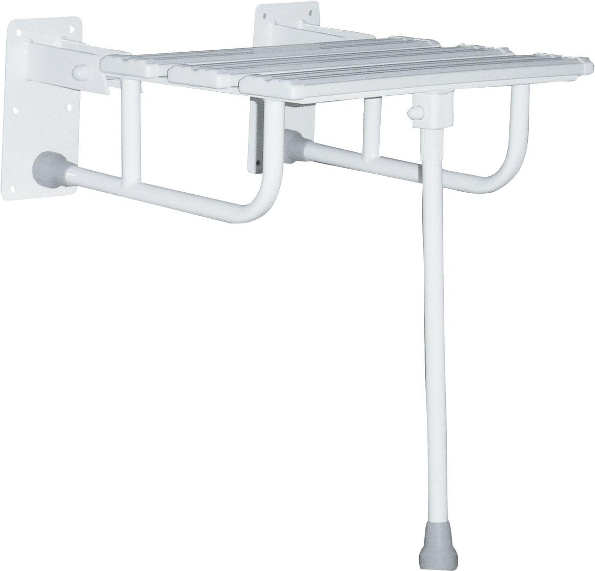 Siedzisko prysznicowe składane z nogą fi 25 Faneco stal biała