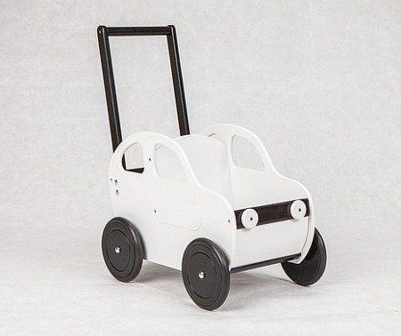 Biały samochód - drewniany wózek na zabawki