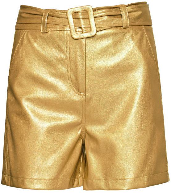 Liu Jo Szorty skórzane WA1401 E0392 Złoty Slim Fit