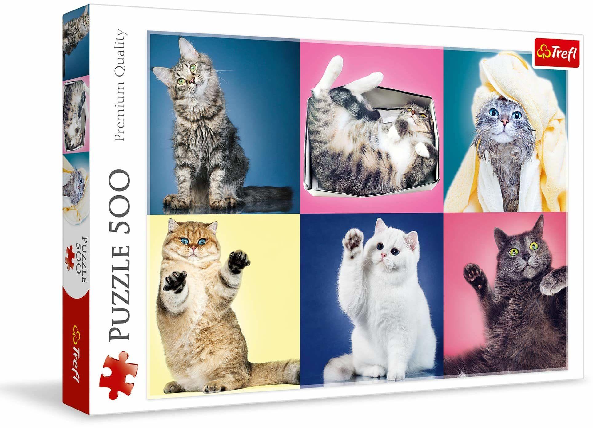 Trefl Kociaki Puzzle 500 Elementów o Wysokiej Jakości Nadruku dla Dorosłych i Dzieci od 10 lat