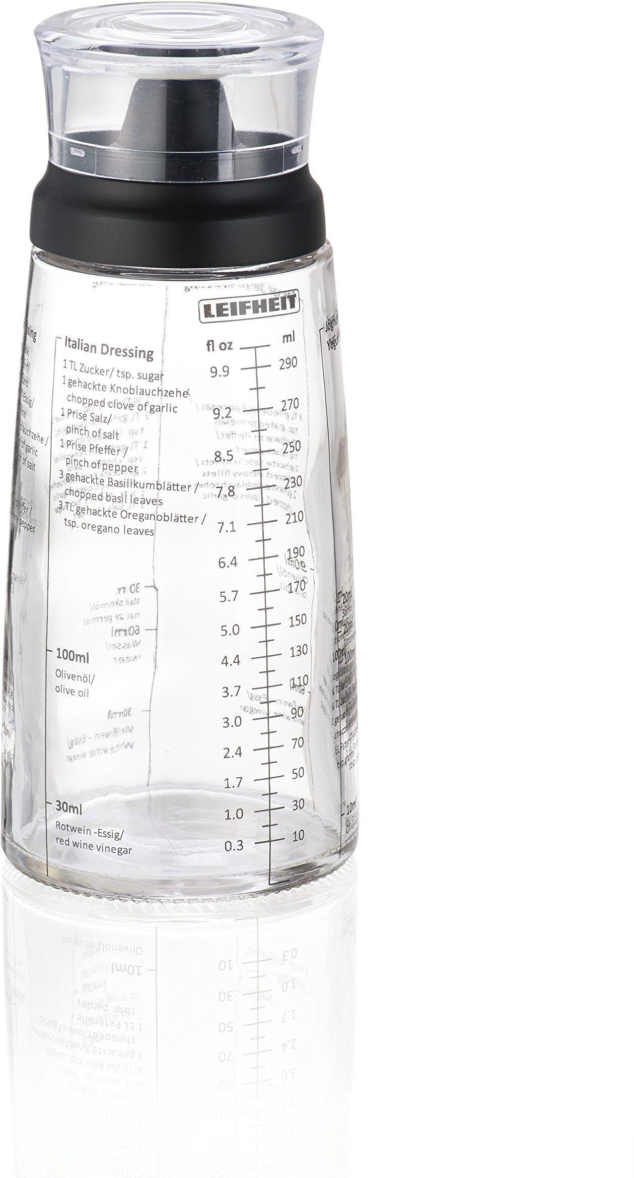 Leifheit Dressing Zestaw Shaker, Szklana Butelka, Miarka z Dzióbkiem Bez Kapania, Czarny, 300 ml