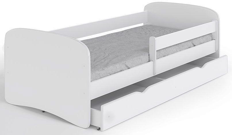 Łóżko dziecięce z barierką Happy 2X 80x180 - białe