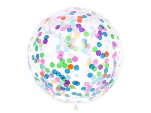 Balony Gigant 1 m, transparentny z kolorowym konfetti